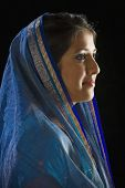 image of dupatta  - Indian woman in traditional dress - JPG