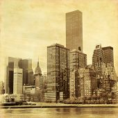 Old style photo of Manhattan in New York.