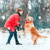 young woman play with her dog golden retriever in winter park