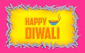 illustration of Happy Diwali background with diya and firecracke
