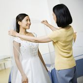 Asian bride smiling at mother