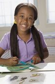 African American girl doing homework