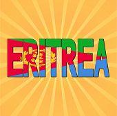 Eritrea flag text with sunburst vector illustration