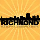 Richmond skyline reflected with sunburst vector illustration