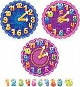 Funny clock for kids and numbers