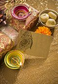 A decorative empty tag on a gift box - an indian festival objects - vertical image