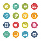 Multimedia Icons // Fresh Colors -- Icons and buttons in different layers, easy to change colors.