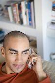 African American man talking on telephone