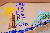Cartagena tiles mosaic in Cala Cortina Murcia at Spain