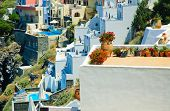 Hanging patios illustrating the lifestyle on the Greek island of Santorini in the Aegean