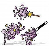 cartoon magic wands casting spells