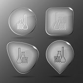 Chemical test tubes. Glass buttons. Vector illustration.