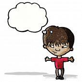 clever cartoon boy thinking;