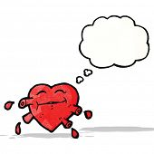 cartoon pumping heart with thought bubble