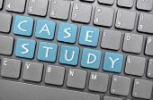 Blue case study key on keyboard