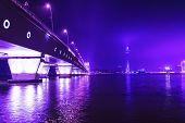 Macau Tower And Sai Van Bridge At Night.