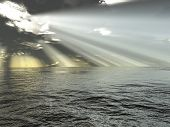 rays of light and ocean