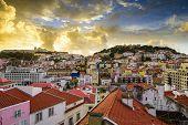 Lisbon, Porgual Dawn Skyline towards Sao Jorge Castle.