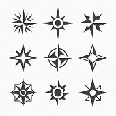 Wind rose icons. Vector.