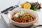 Pasta with tomato sauce and chickpeas
