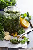 Kale pesto with pistachios, garlic and olive oil