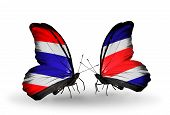 Two Butterflies With Flags On Wings As Symbol Of Relations Thailand And Costa Rica