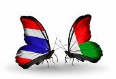 Two Butterflies With Flags On Wings As Symbol Of Relations Thailand And Madagascar