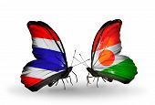 Two Butterflies With Flags On Wings As Symbol Of Relations Thailand And Niger