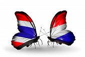 picture of holland flag  - Two butterflies with flags on wings as symbol of relations Thailand and Holland - JPG