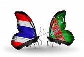 Two Butterflies With Flags On Wings As Symbol Of Relations Thailand And Turkmenistan