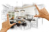 stock photo of composition  - Female Hands Framing Custom Kitchen Design Drawing and Photo Combination - JPG