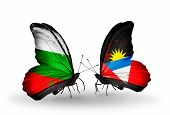 Two Butterflies With Flags On Wings As Symbol Of Relations Bulgaria And Antigua And Barbuda