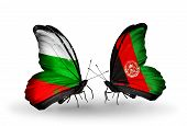 Two Butterflies With Flags On Wings As Symbol Of Relations Bulgaria And Afghanistan