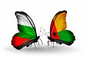 Two Butterflies With Flags On Wings As Symbol Of Relations Bulgaria And  Guinea Bissau