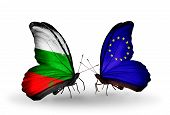 Two Butterflies With Flags On Wings As Symbol Of Relations Bulgaria And European Union