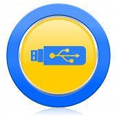 usb blue yellow icon flash memory sign