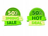 50 Percentages Off Spring Sale And Hot Deal, Round Drawn Labels