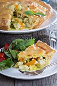 image of curry chicken  - Chicken curry savory pie with carrot and green peas