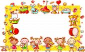 Rectangular Frame with Cartoon Kids