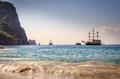 pic of cleopatra  - Ships on the beach of Cleopatra. Turkey, Alanya.