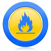 flame blue yellow icon