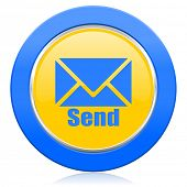send blue yellow icon post sign