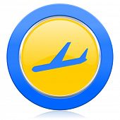 arrivals blue yellow icon plane sign