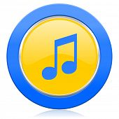 music blue yellow icon note sign