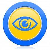eye blue yellow icon view sign