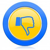 dislike blue yellow icon thumb down sign