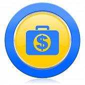 financial blue yellow icon