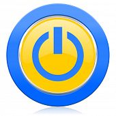 power blue yellow icon on off sign