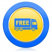 free delivery blue yellow icon transport sign
