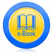 book blue yellow icon e-book sign
